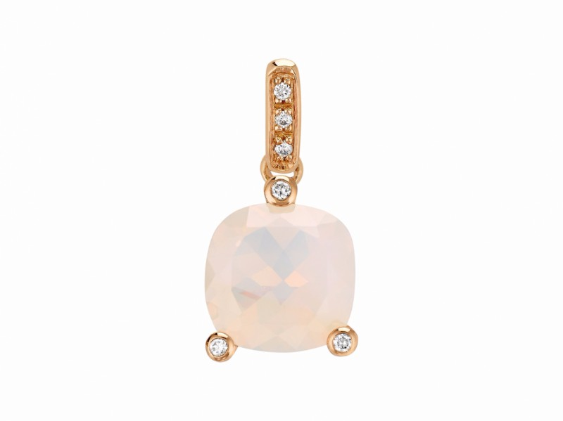 Poiray This Filles Antik pendant mounted on rose gold with quartz milky and diamonds is available at the Pop Up - CHF 880