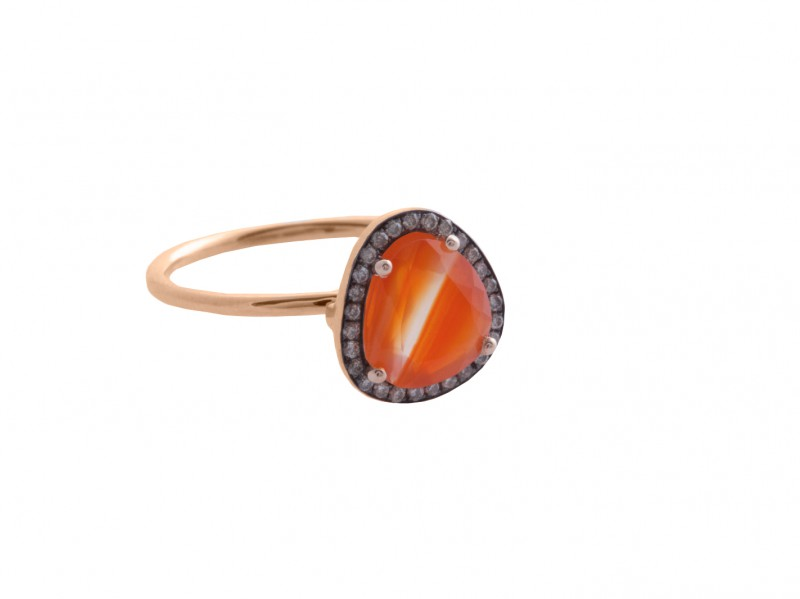 Christina Debs From Hard Candy Collection, this Carnelian ring mounted on rose gold with brown diamonds is available at the Pop-Up - CHF 745