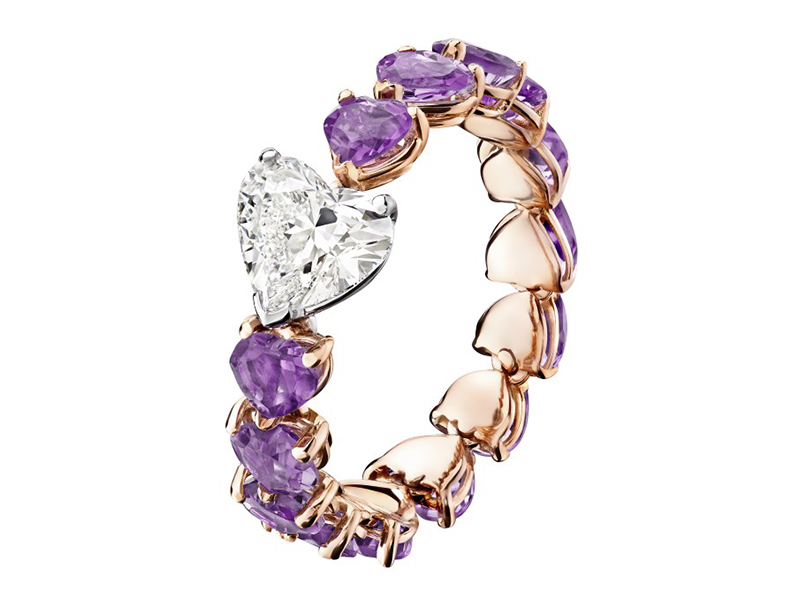 De Grisogono Cuore Ring paved with amethysts and a central heart-cut diamond Cuore Ring set with successive hearts topped with a central heart stone