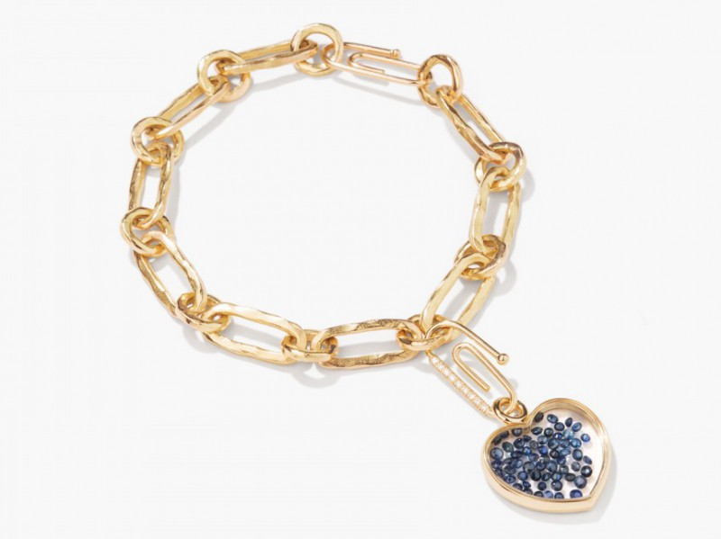 Aurelie Bidderman Chivas Bracelet set with sapphires ~ 6275 Euros Edgy style with the Chivas Heart filled with sapphires