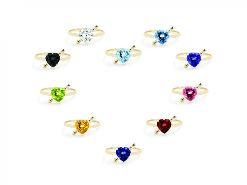 Gemmyo Heart Ring - available in multicolored stones Colorful variety of stones for the cupid's heart rings