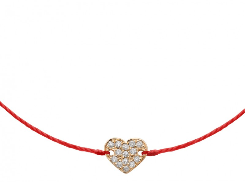 Redline Paved heart bracelet ~ 450 Euros Simple paved heart set on red cotton thread