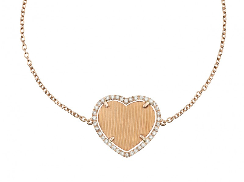Etername Or Brossé heart bracelet paved with diamonds