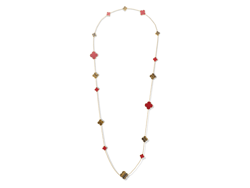 Van Cleef & Arpels From Magic Alhambra collection - Long necklace mounted on yellow gold with carnelian and tigerseye