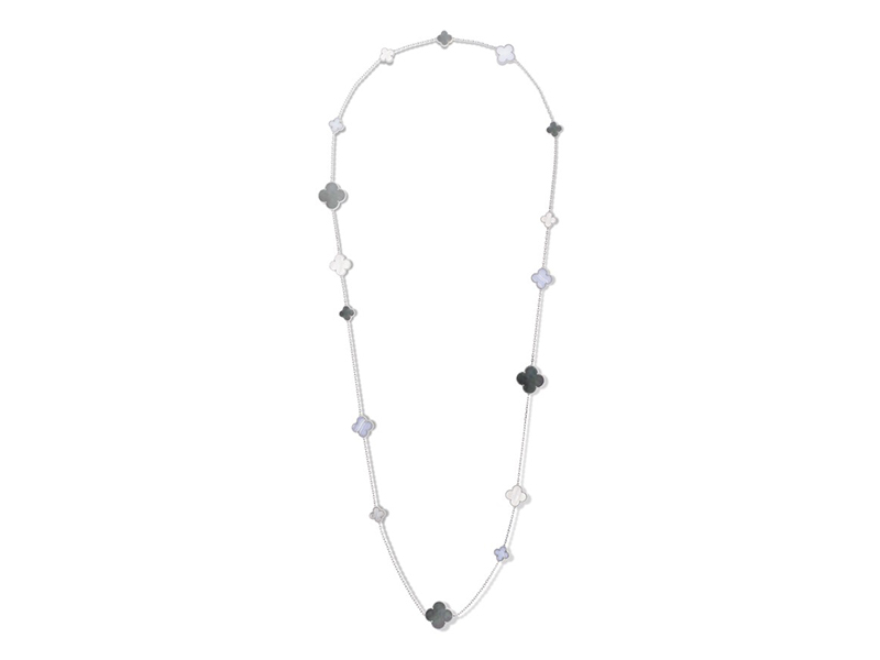 Van Cleef & Arpels From Magic Alhambra collection -Long necklace mounted on white gold with white and grey mother of pearls and chalcedony