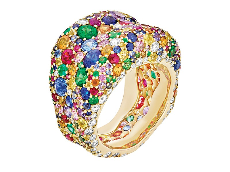 Fabergé Emotion collection - Multicoloured Ring mounted on yellow gold with white diamonds, rubies, tsavorites, emeralds and multicolored sapphires