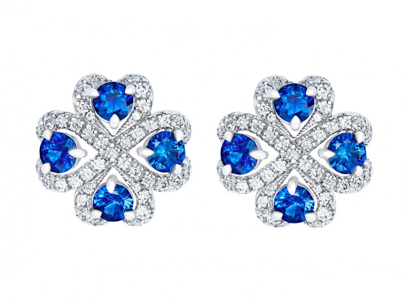 Fabergé Imperial collection - Quadrille Blue Sapphire Earrings mounted on white gold with white diamonds
