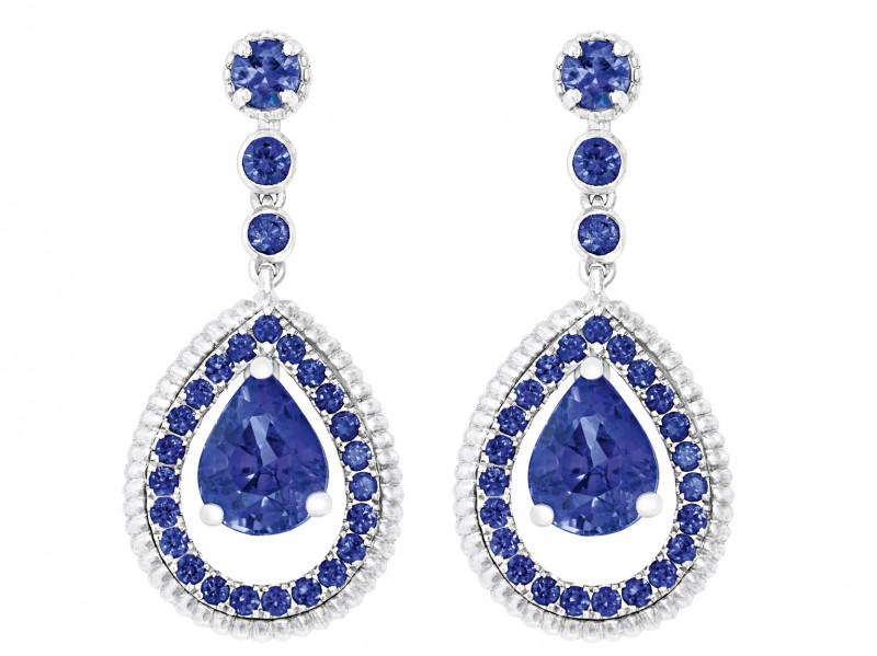 Fabergé Theart of colour collection - Blue sapphire pavé drop earrings mounted on white gold