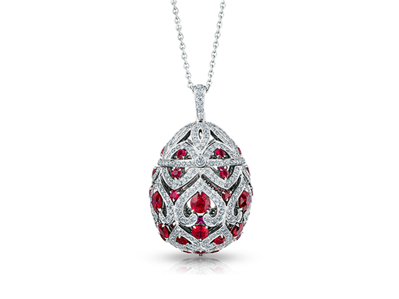 Fabergé Imperial collection - Zenya ruby pendant mounted on white gold with round white diamonds and round rubies