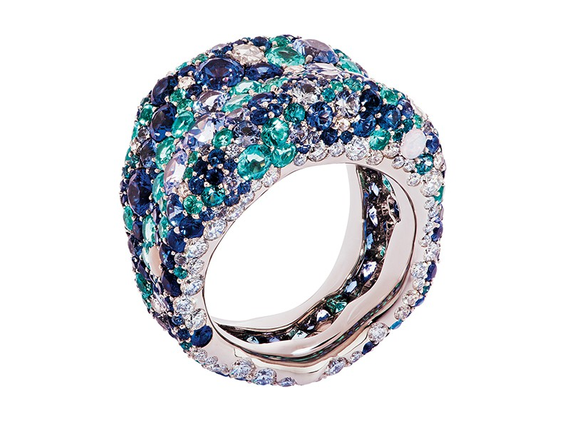 Fabergé Emotion collection - Emotion blue ring mounted on whitegold with round white and rose diamonds, blue sapphires, opals, paraiba tourmaline and topazes