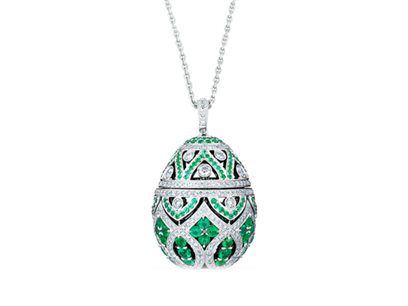 Fabergé Imperial collection - Zenya emerald egg pendant mounted on white gold with round emeralds and round white dimaonds