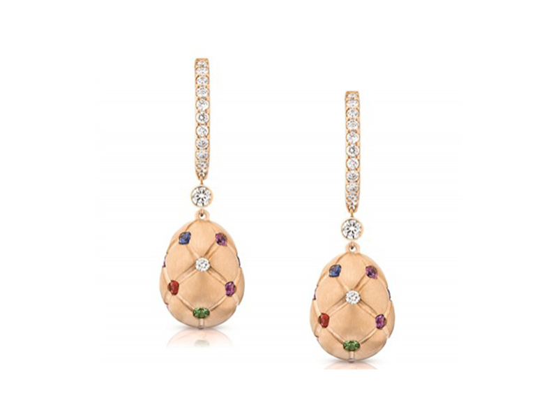 Fabergé Treillage collection - multicolored rose gold matt drop earrings with white diamonds, blue and pink sapphires, rubies, amethystes, opals and tsavorites