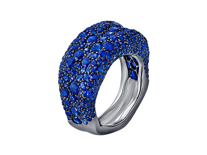 Fabergé Emotion collection - emotion blue sapphire thin Ring mounted on whitegold