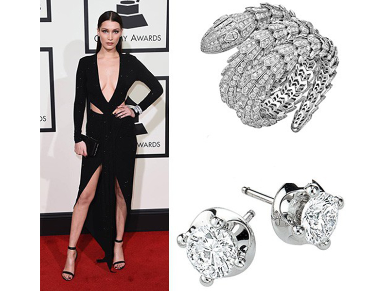 Bvlgari Bella Hadid wore a high jewelry Serpenti bracelet with round brilliant cut-diamonds, Corona earrings in white gold with two round diamonds at the Grammy Awards