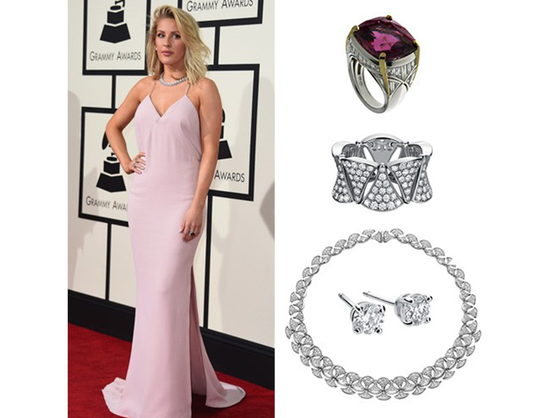 Bvlgari Ellie Goulding wore a Diva diamond-paved necklace with Griffe white gold earrings at the Grammy Awards. She also wore a cushion-cut spinel ring and a Diva white gold diamond-paved ring.