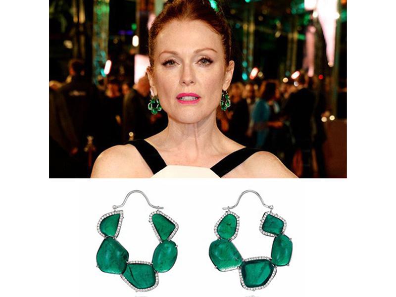 Chopard Julianne Moore wore emeralds earrings at the Bafta.