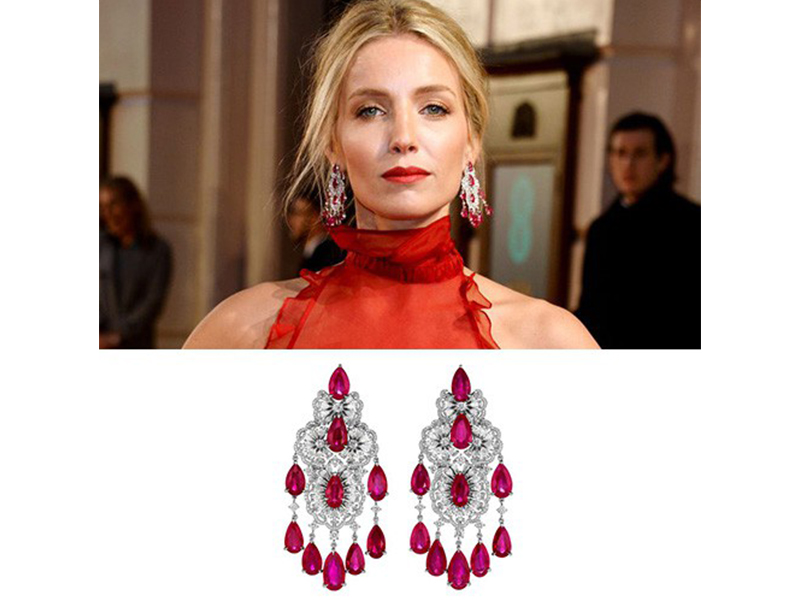 Chopard Annabelle Wallis wore rubies diamonds earrings from red carpet collection at the bafta.