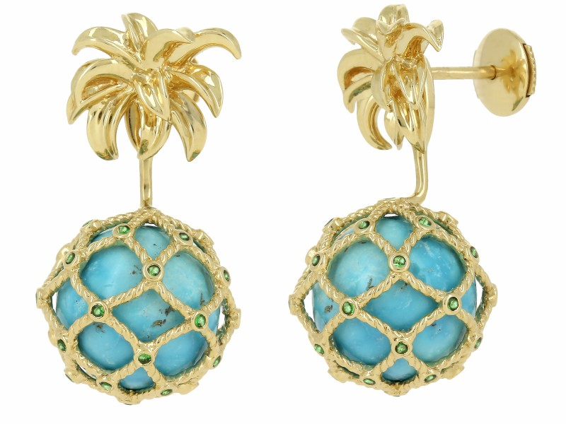 Yvonne Leon BOUCLE D'OREILLE MINI ANANAS TURQUOISE OR JAUNE Stud and ear-jacket in 18k yellow gold 2,8gr approx. Tsavorites 0,02ct approx. Turquoise 2,8ct approx. Alpa System