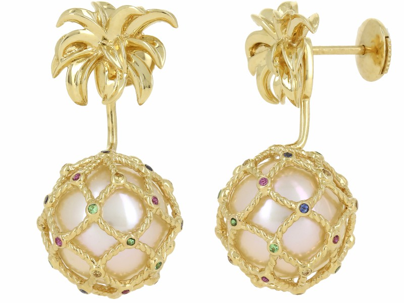 Yvonne Leon BOUCLE D'OREILLE MINI ANANAS PERLE OR JAUNE Stud and ear-jacket in 18K yellow gold 2,8gr approx. Tsavorites 0,05ct approx. Amethyst 0,04ct approx. Blue Saphir 0,05ct approx. Orange Saphir 0,05ct approx. Pearl 3,15ct approx. Alpa System