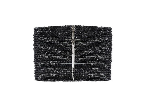Catherine Angiel Edgy dagger bracelet with 24 strands of faceted black spinel beads
