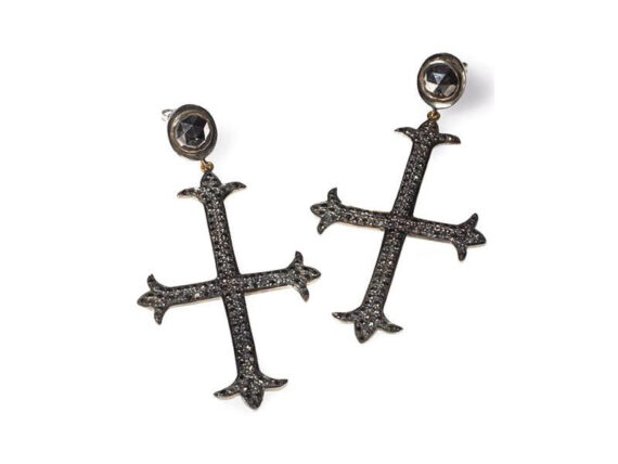 Catherine Angiel Black diamond cross statement earrings weight in blackened sterling silver with white gold backs