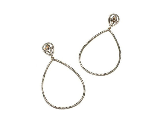 Catherine Angiel Champagne diamond teardrop earrings are shown with 2.50 carats total weight diamonds in blackened silver with gold posts backs
