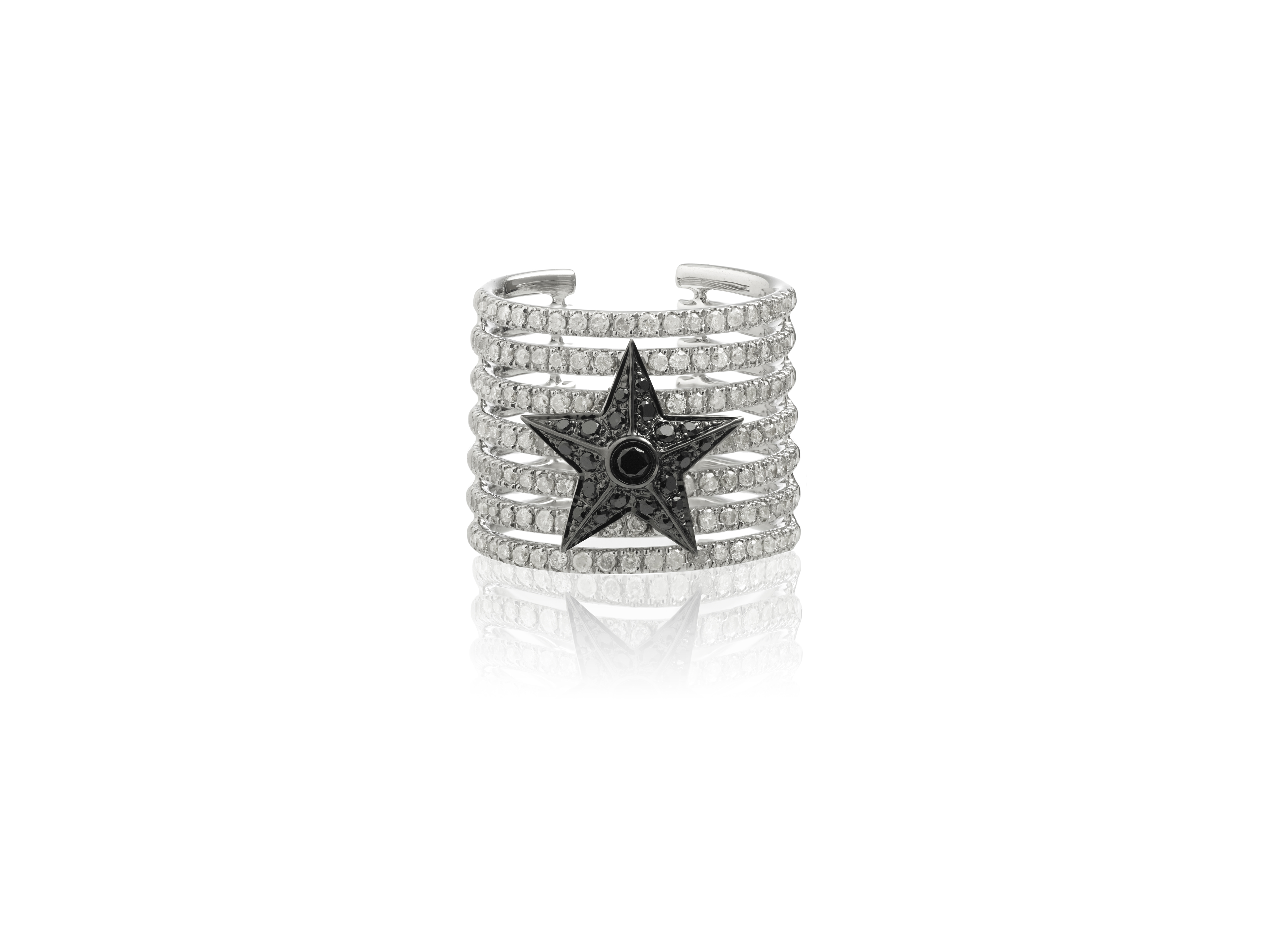 Elise Dray Stripe Star ring mounted on white and black gold with white and black diamonds