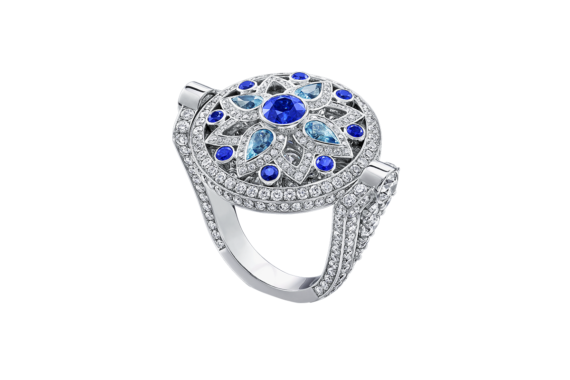 Harry Winston - Secret Wonder ring mounted on platinum with blue sapphires and diamonds