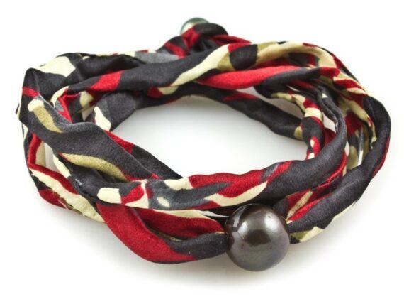 M.Cohen Two-strand three-layer black pearl wrap bracelet