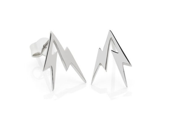 Meadowlark Thunder bolt stud earrings mounted on white gold