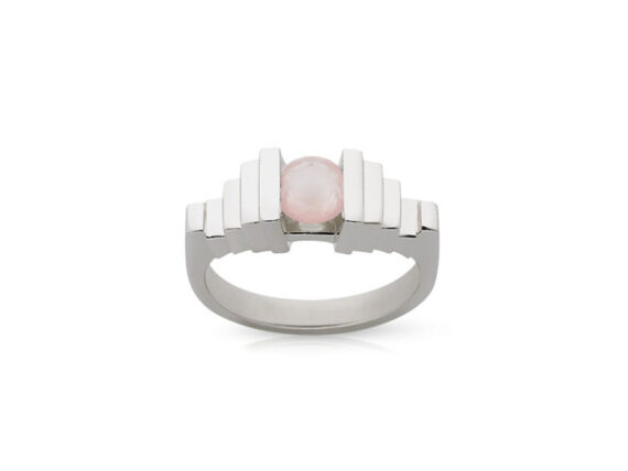 Meadowlark Empire ring mounted on white gold with rose quartz