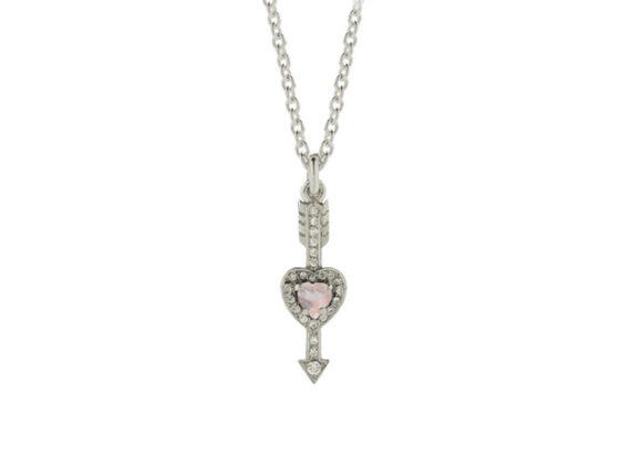 Meadowlark Heart & Arrow necklace mounted on white gold with rose quartz and white diamonds
