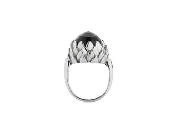 Meadowlark Protea cocktail ring mounted on white gold with a custom cut stone