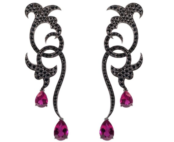 Van Der Bauwede Volute earings mounted on white gold with black sapphires and rubellite