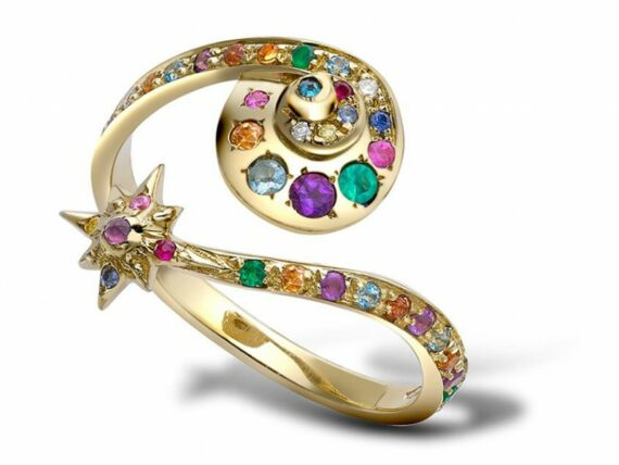 Venyx Moonshell star ring mounted on yellow gold and coloured stones