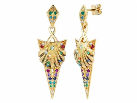 Venyx Naida rainbow earrings mounted on yellow gold and coloured stones
