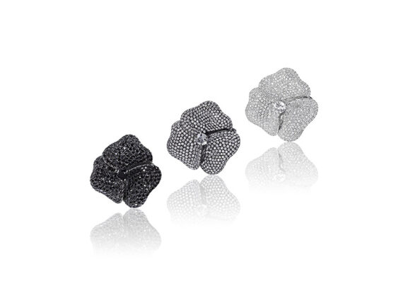 AS29 - Pave Flower rings mounted on black or white gold with white and black diamonds and sapphires