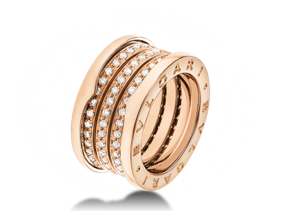 Bvlgari - B. Zero 1 ring mounted on yellow gold with diamonds