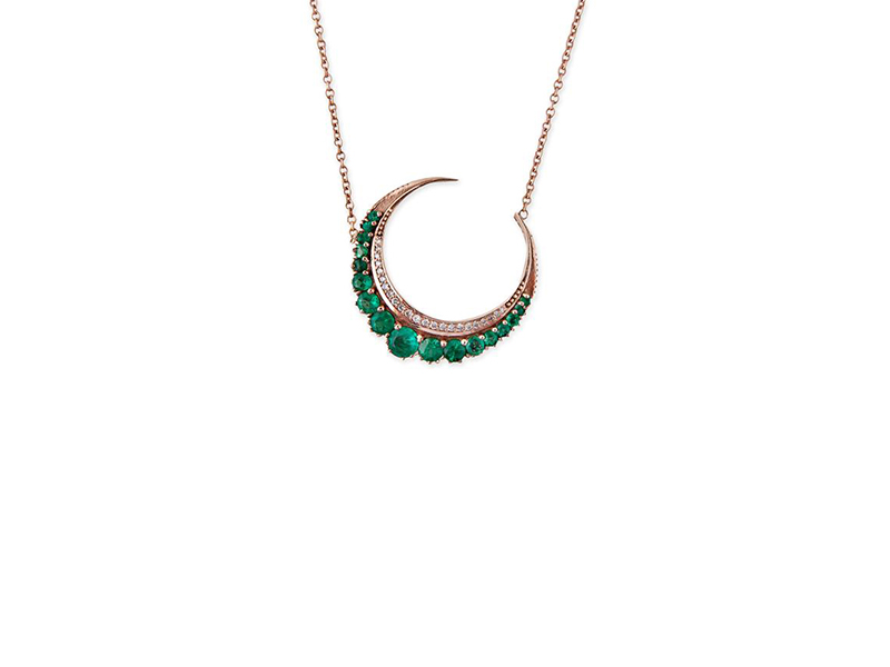 Jacquie Aiche Emerald Crescent Moon necklace