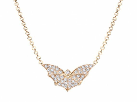 Van Der Bauwede Twilight necklace mounted on pink gold with white diamonds