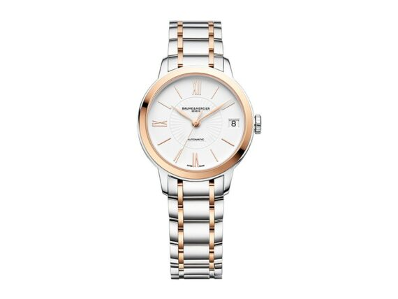 Baume et Mercier - Classima 10269 - Two-tone automatic watch for women with a self-winding movement featuring date function, a white dial and a bracelet in steel and rose gold