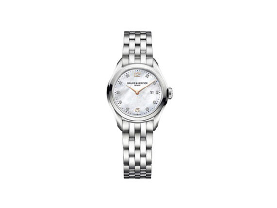 Baume et Mercier - Clifton 10176 - Women's watch mounted on steel with a quartz movement and a mother-of-pearl finition