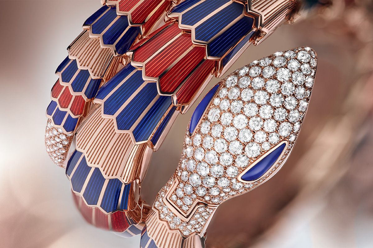 Serpenti Secret Watches set with pavé diamonds and lapis lazuli eyes