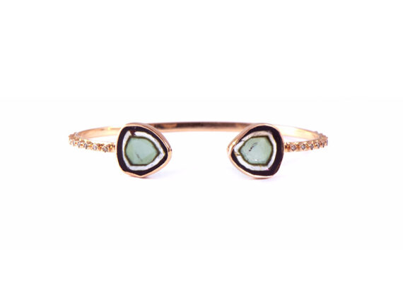 Celine D'Aoust Bangle mounted on light rose gold with two tourmaline and diamonds