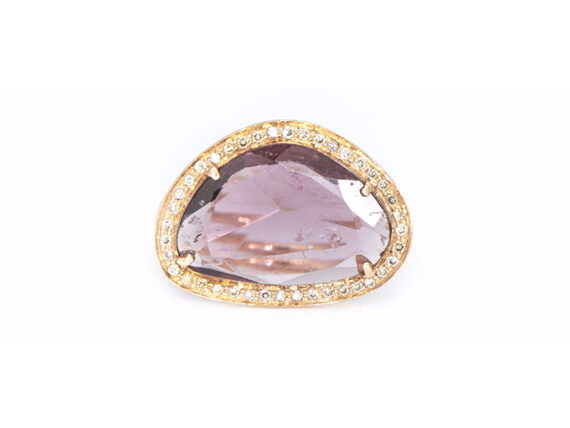 Celine D'Aoust Stella tourmaline ring mounted on light rose gold with watermelon tourmaline and diamonds setting