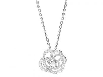 Chanel Fil de Camelia Pendant diamonds mounted on white gold