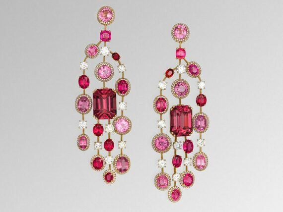 David Morris Pink spinel & diamond chandelier earrings