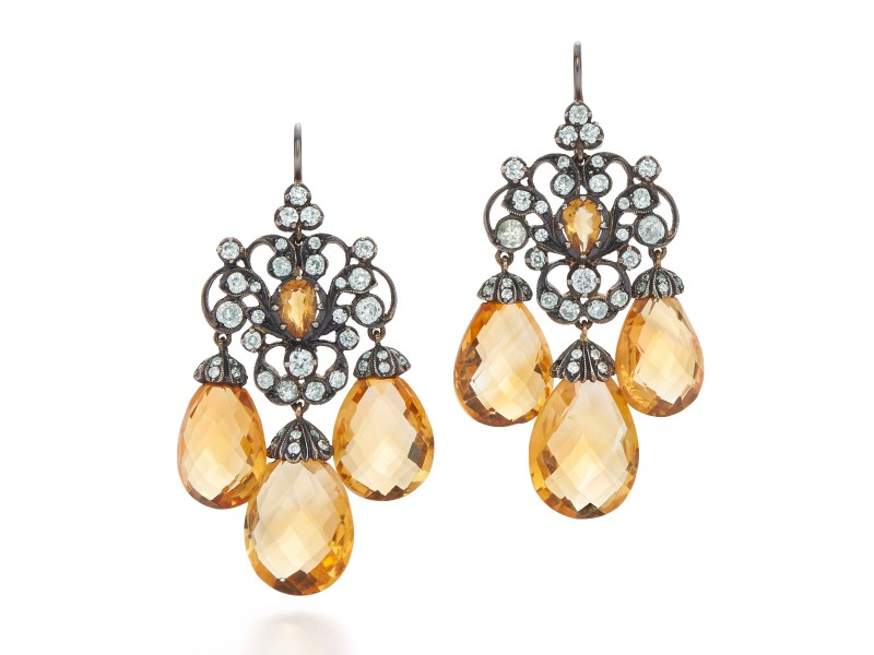Citrine and diamond chandelier earrings by Fred Leighton.