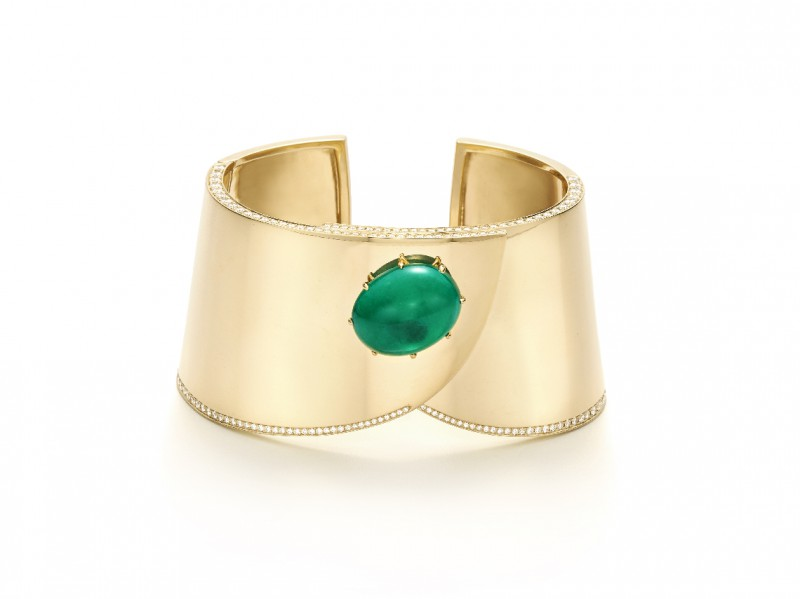 A yellow gold, emerald and diamond cuff bracelet signed Fred Leighton.