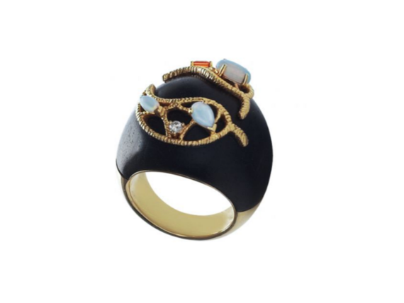 Goralska Ebony ring mounted on yellow gold and ebony set with one diamond, one orange sapphire and three opals
